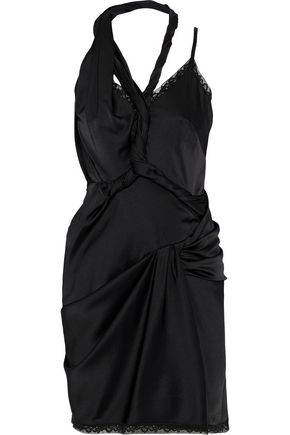 ALEXANDER WANG Asymmetric twisted stretch-silk satin mini dress