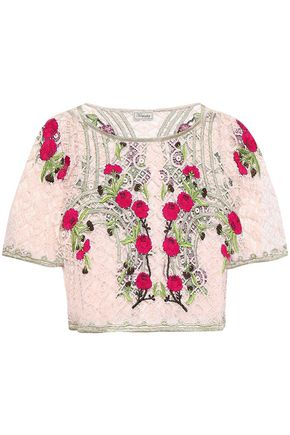 TEMPERLEY LONDON Antila cropped embroidered cotton-blend lace top