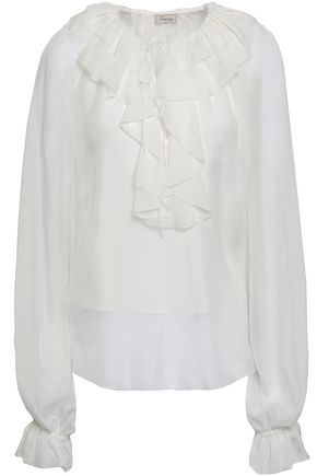 TEMPERLEY LONDON Ruffled silk-chiffon blouse