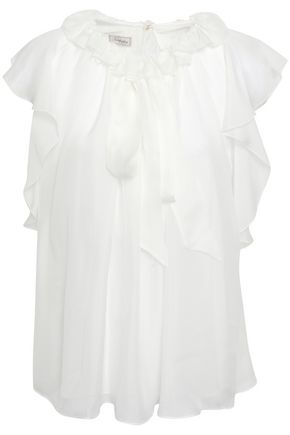 TEMPERLEY LONDON Allure pussy-bow ruffled silk-chiffon blouse