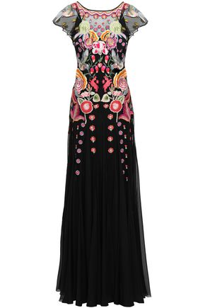 TEMPERLEY LONDON Embroidered tulle and silk-blend organza gown