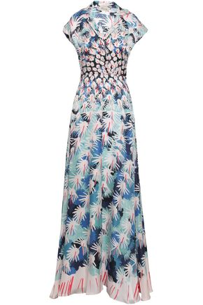 TEMPERLEY LONDON Garden Cacti printed hammered silk-blend satin gown
