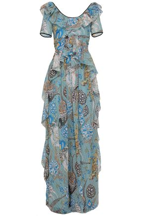 TEMPERLEY LONDON Shire ruffled printed fil coupé georgette maxi dress
