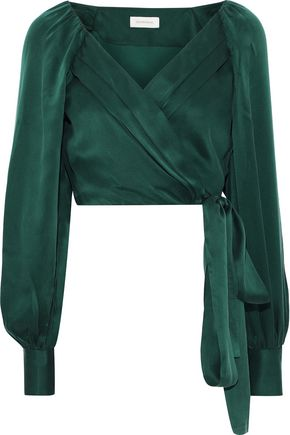 ZIMMERMANN Washed-silk wrap top