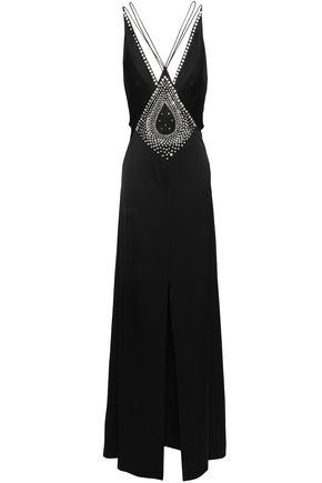 TEMPERLEY LONDON Ballerina split-front crystal-embellished satin maxi dress