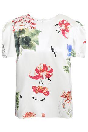 ADAM LIPPES Floral-print silk-satin blouse