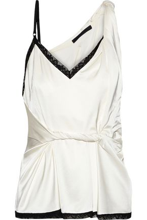 ALEXANDER WANG Asymmetric twisted stretch-silk satin camisole