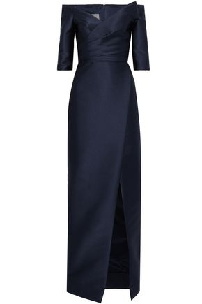 MONIQUE LHUILLIER Off-the-shoulder satin gown