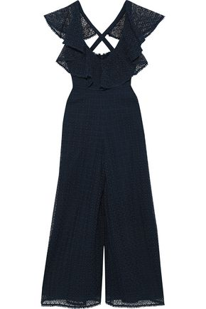 TEMPERLEY LONDON Sunrise ruffled guipure lace jumpsuit