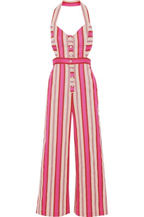 TEMPERLEY LONDON Pine Tree cutout striped cotton-blend halterneck jumpsuit