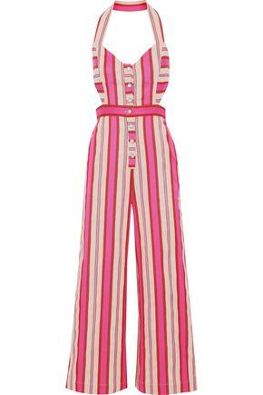 TEMPERLEY LONDON Pine Tree cutout striped cotton-blend halterneck jumpsuit