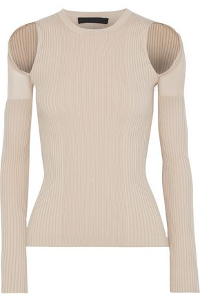 ALEXANDER WANG Mesh-trimmed cutout ribbed cotton-blend top