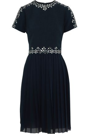 MIKAEL AGHAL Embellished pleated georgette and crepe dress