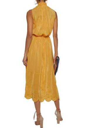 SEE BY CHLOÉ Ruffle-trimmed broderie anglaise crepe de chine midi dress