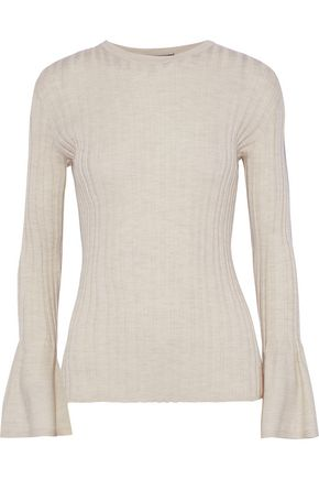 AKRIS Fluted ribbed cashmere-blend sweater