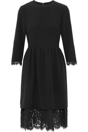 MIKAEL AGHAL Lace-trimmed crepe dress