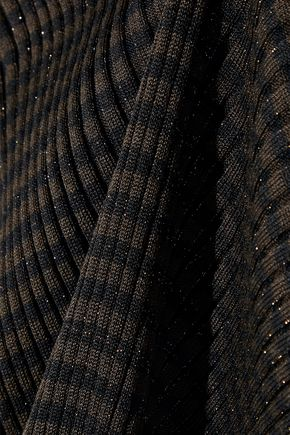 AKRIS Striped metallic ribbed silk-blend top