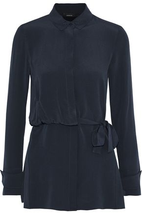 AKRIS Belted silk-crepe tunic