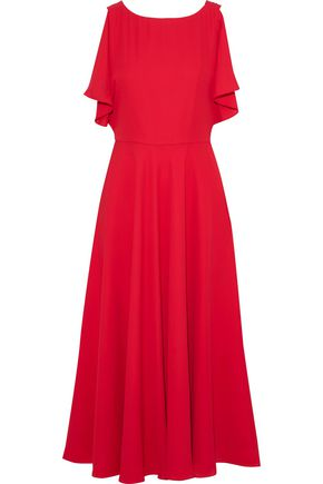 Draped Crepe Midi Dress by Mikael Aghal