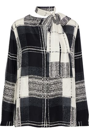 AKRIS Pussy-bow checked silk blouse