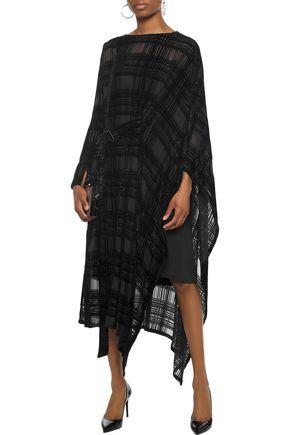 AKRIS Layered metallic devoré-velvet silk-chiffon midi dress
