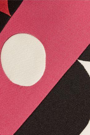 VALENTINO Paneled pleated wool and silk-blend mini dress