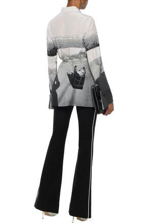 AKRIS Belted printed silk shirt