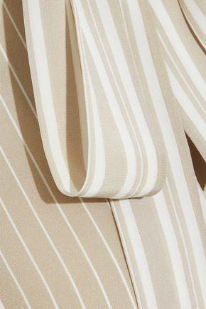 AKRIS Pussy-bow striped silk shirt