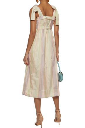 SEE BY CHLOÉ Bow-detailed ruched striped sateen midi dress