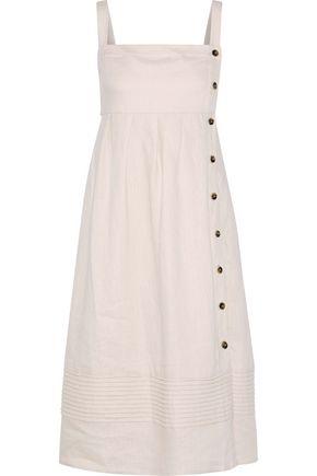 "IRIS & INK فستان متوسط الطول ""آرييل"" من الكتان مع ثنيات"