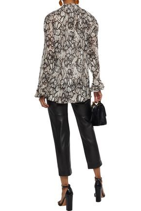 SEE BY CHLOÉ Snake-print plissé cotton and silk-blend gauze blouse