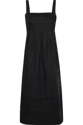 IRIS & INK Ariel button-detailed pintucked linen midi dress