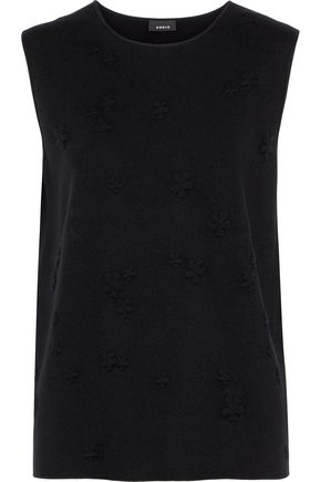 AKRIS Embroidered silk-blend tank