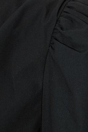 FRAME One-shoulder cotton-poplin top
