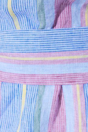 FRAME Off-the-shoulder striped linen mini dress