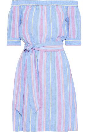 FRAME Off-the-shoulder striped linen mini dress