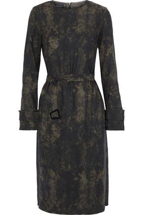 AKRIS Belted printed wool-twill dress