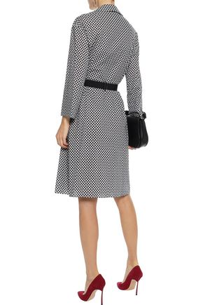 AKRIS Belted printed cotton-poplin dress