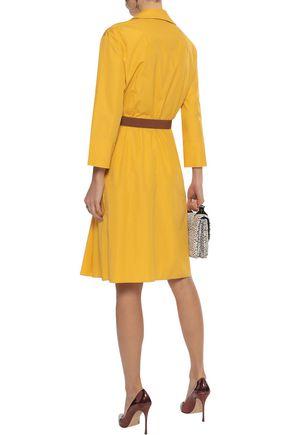 AKRIS Belted pleated cotton-poplin dress