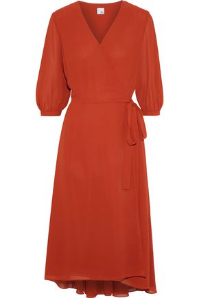 IRIS & INK Summer crepe de chine midi wrap dress
