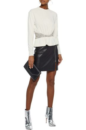 ALEXANDER WANG Twist-front studded knitted top