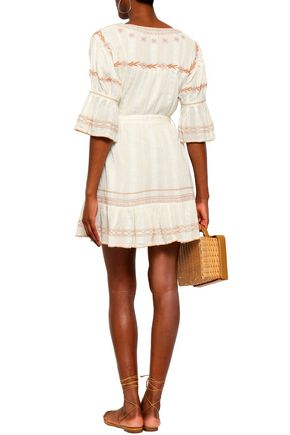 LOVE SAM Belted embroidered cotton-gauze mini dress