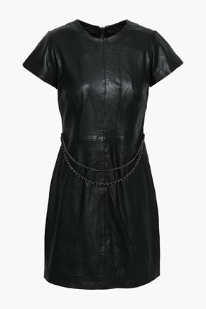 MUUBAA Chain-embellished leather mini dress