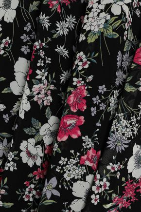RAOUL Ruffle-trimmed floral-print crepe de chine dress