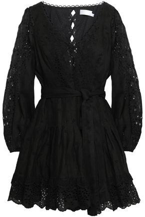 ZIMMERMANN Belted broderie anglaise linen mini dress