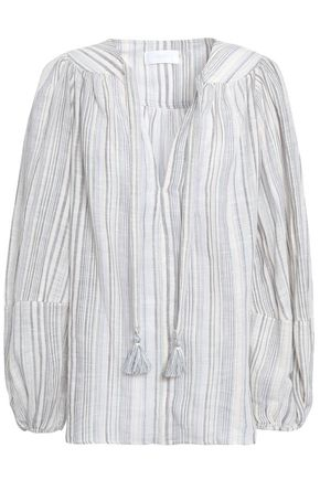 ZIMMERMANN Tasseled cotton and linen-blend jacquard blouse