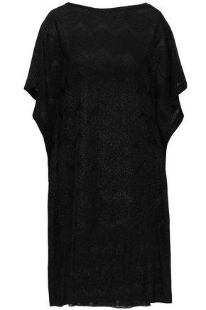 M MISSONI Draped metallic crochet-knit mini dress