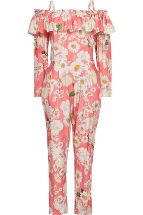 ISOLDA Cold-shoulder floral-print crepe jumpsuit