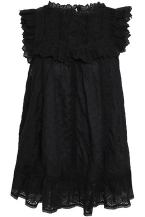 ZIMMERMANN Ruffled embroidered floral-print cotton top