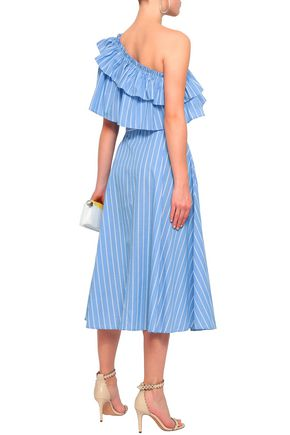 RAOUL One-shoulder striped cotton-poplin midi dress